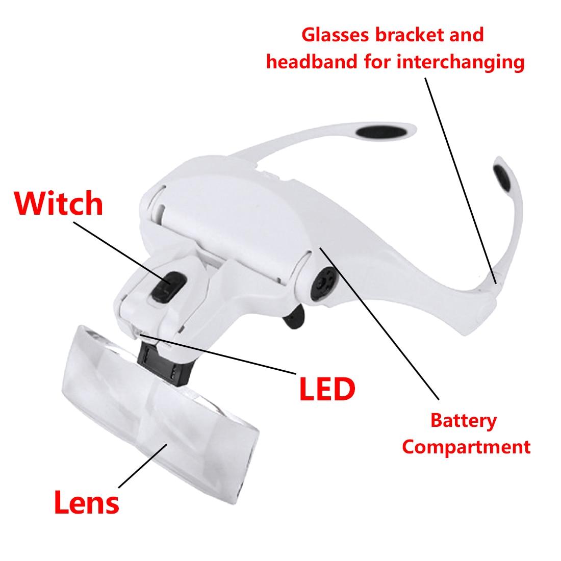 Cabeça olho de lupa com 2 luz led ajustável 1.0/1.5/2.0/2.5/3.5x5 lente óculos lupa lente óptica reparação jóias
