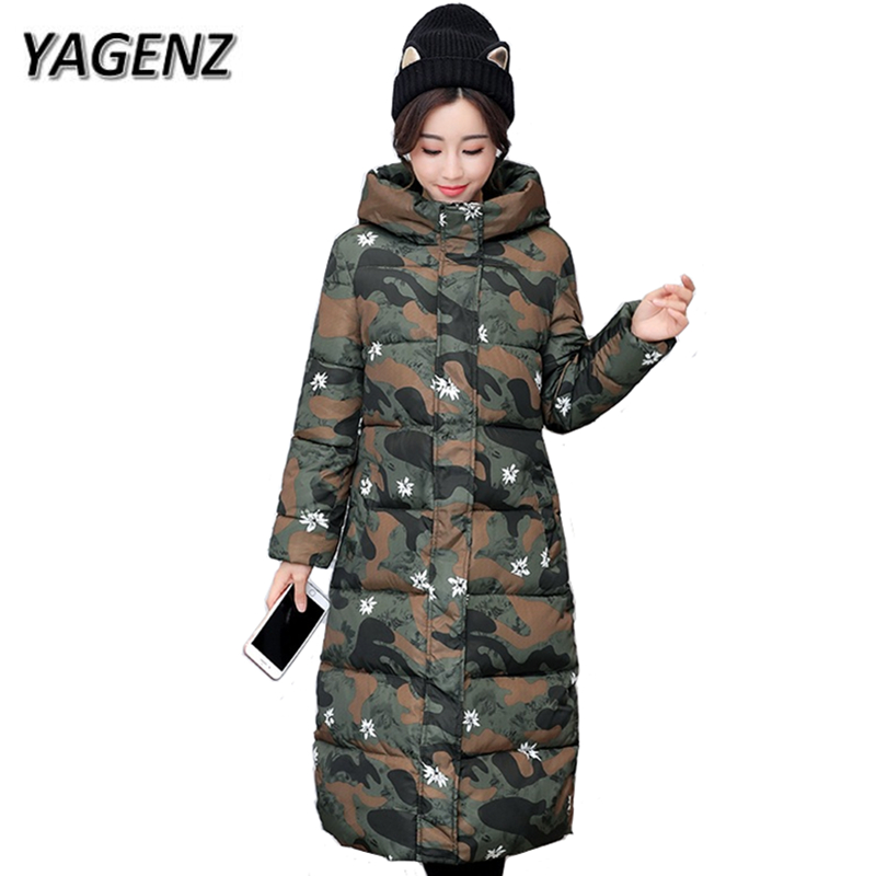 YAGENZNew Fashion 2017 Women Thick Jacket Winter Print Hooded Coat Elegant Slim Female Parkas Warm Down Cotton Long Overcoat 3XL thick hooded down jacket women slim print long winter coat camouflage y160