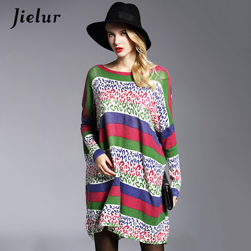 Fall Europe New Street Fashion Women's Winter Sweaters Loose Hit Color Striped Printed Oversized Sweater Long Female Pullovers