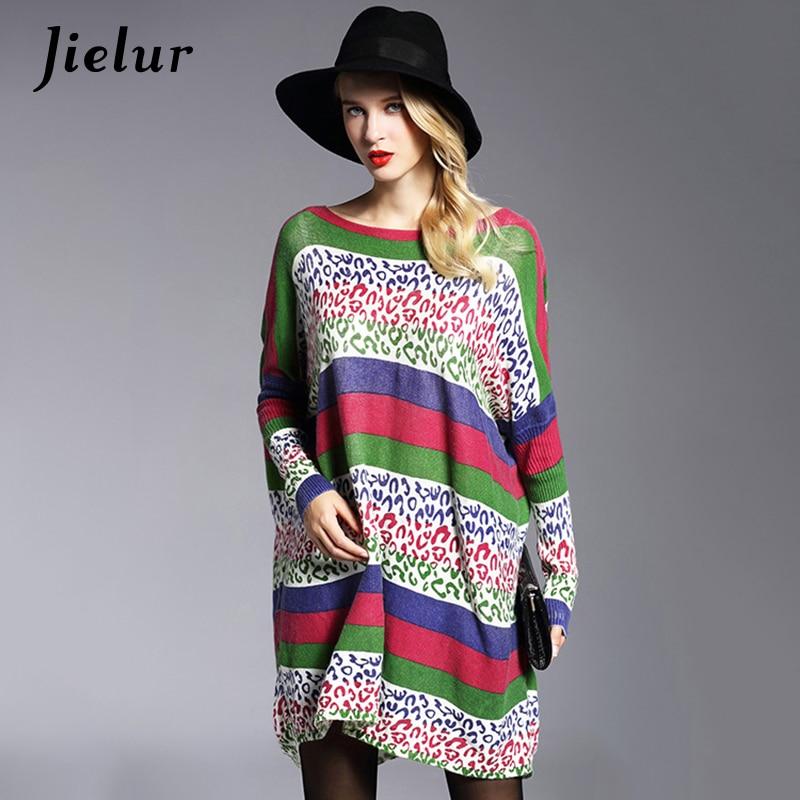 Jielur Fall Europe Yeni Moda Qadın Qış Sviterləri Boş Hit Rəng Zolaqlı Çaplı, Böyük ölçülü Sviter Uzun Qadın Pullu