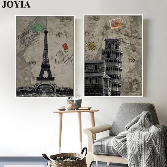 Classic Wall Art Decor Pictures Vintage Paris Italy Tower Canvas ...