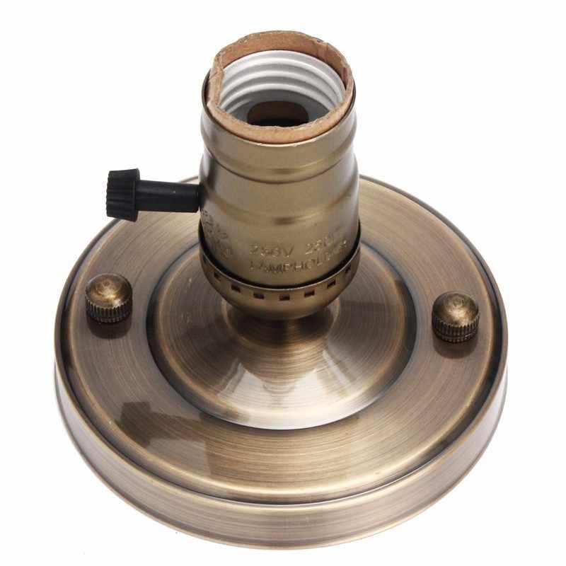 Lamp Base E27/E26 Electroplating Aluminum Vintage Retro Antique Edison Ceiling Screw Light Lamp Bulb Socket Holder With Switch
