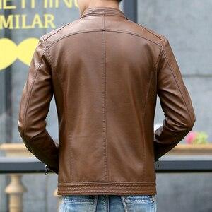 Image 4 - Mountainskin 5XL ชายเสื้อแจ็คเก็ตหนังผู้ชาย Stand Collar Coats ชายรถจักรยานยนต์หนังแจ็คเก็ต Casual Slim แบรนด์เสื้อผ้า SA010