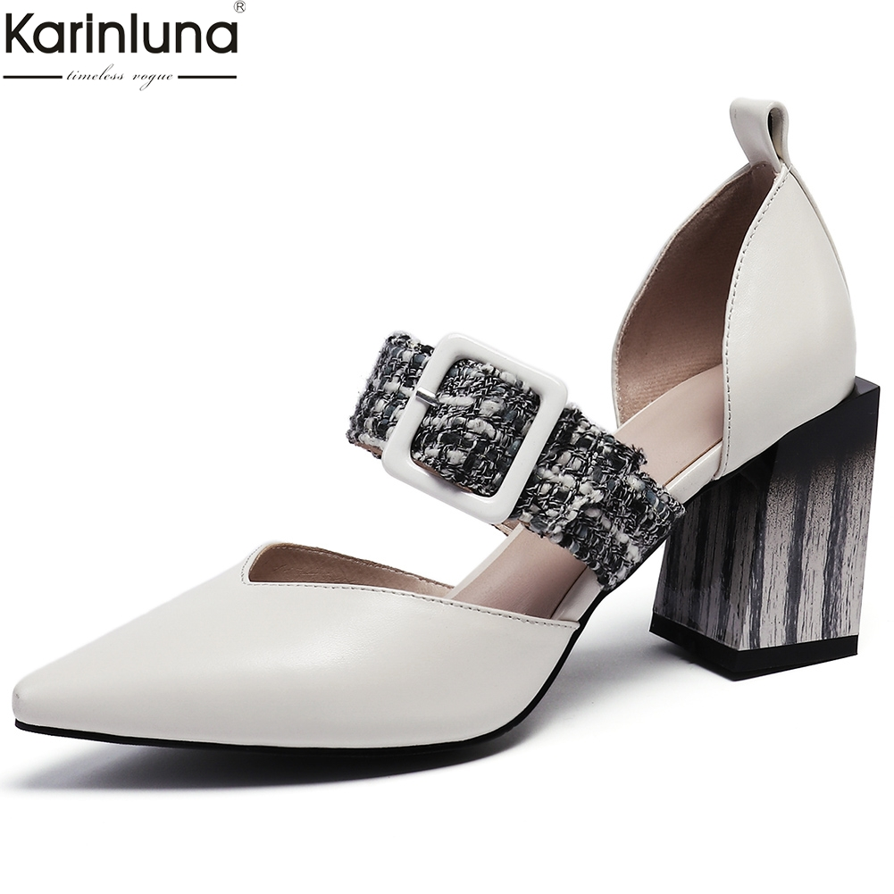 Karinluna Fashion 2019 Big Size 33-43 Cow Leather Party Sandals Women Shoes Pointed Toe Hot Shoes Woman SandalsKarinluna Fashion 2019 Big Size 33-43 Cow Leather Party Sandals Women Shoes Pointed Toe Hot Shoes Woman Sandals