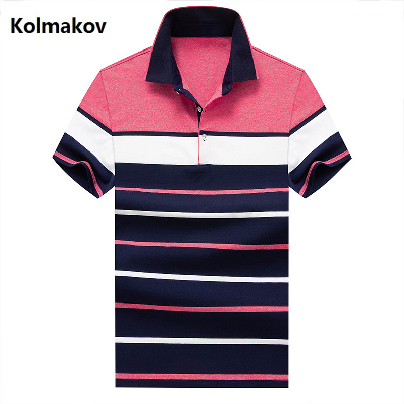 2019 new arrival summer   polo   shirt men high quality cotton casual men's   polos   , Business Short Sleeves stripe men's   polo   shirts