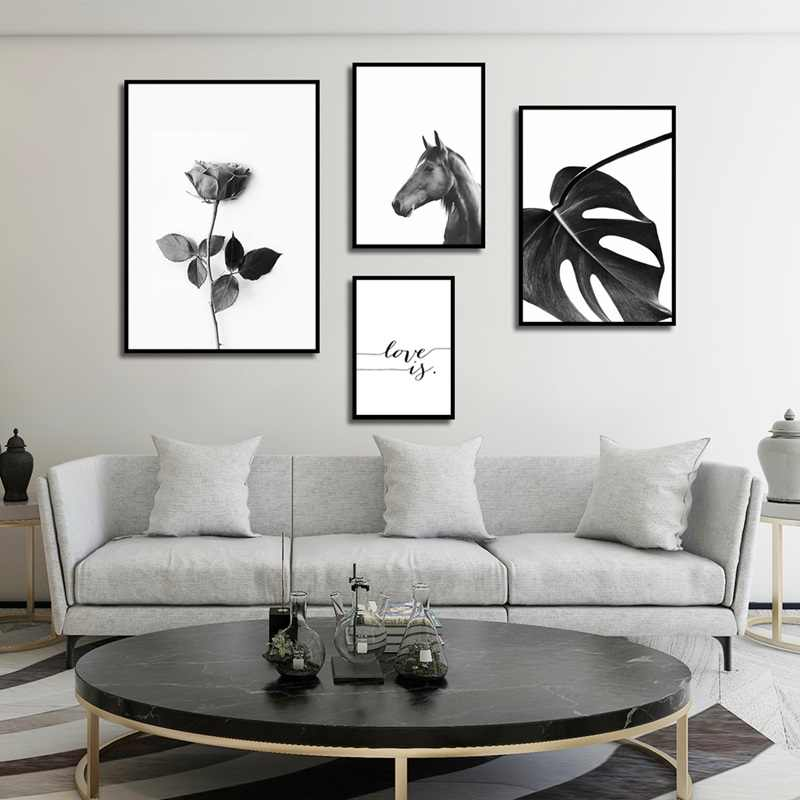 Modern Plant Romantic Rose Print Animal Horse Poster Home Wall Art Decorative Canvas Painting Print Picture Can Be Customized