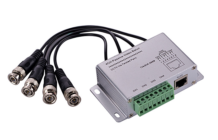 CCTV 4CH Passive Video BNC to UTP RJ45 Coax Adapter Camera DVR Balun 4CH Balun With UTP Cable bnc video balun passive transceiver coax cat5 camera utp cable coaxial adapter for 200 450m distance ahd hdcvi tvi camera