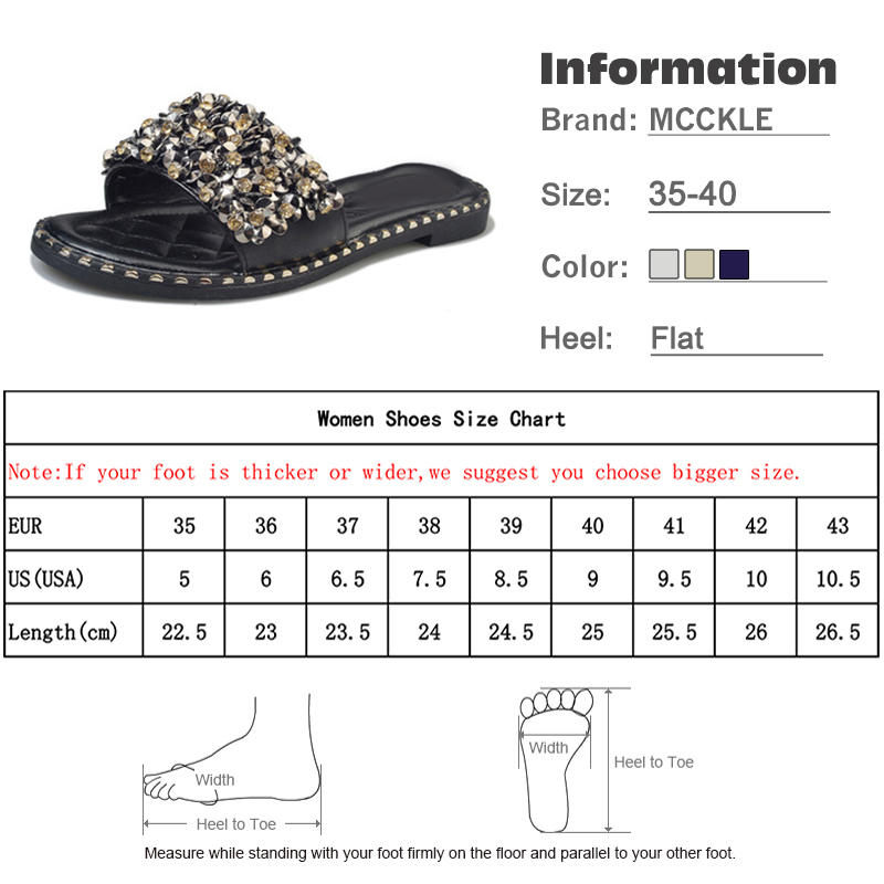 Women Casual Summer Flat Beach Slippers Female Crystal Rivets Slides Slipper Shoes For Girls Fashion Woman Leisure Footwear 2019