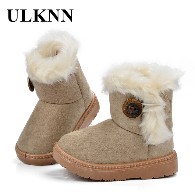 ULKNN Snow Boots Winter Children Shoes Girls Boys Plush Warm Buckle Strap  Mid-Calf Kids Boots Leather With Fur Platform Shoes d0a0ca9130a3
