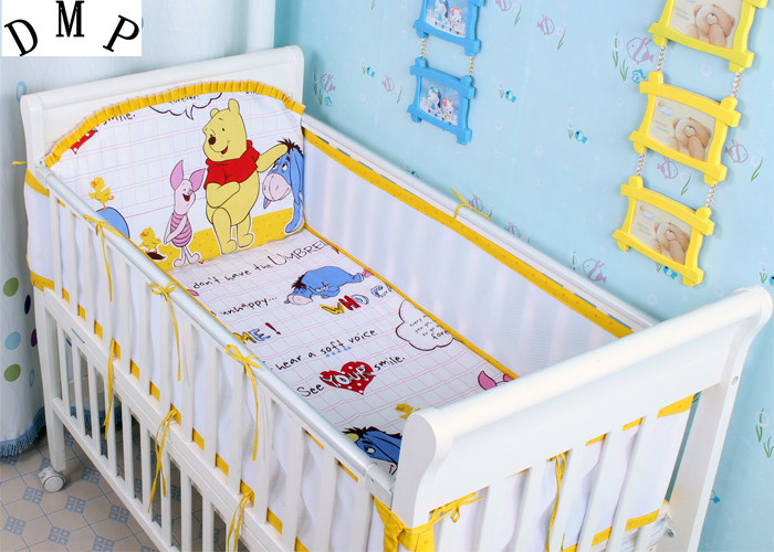Promotion! 5PCS mesh cartoon animal Breathable Baby Bedding Crib Bumper Crib Liner Baby ,include:(4bumper+sheet)