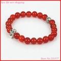 1pcs Nature Mix Color Black Red Agate Stone Beaded Bracelet Women/men Skull Head Charming Stretch Bracelet