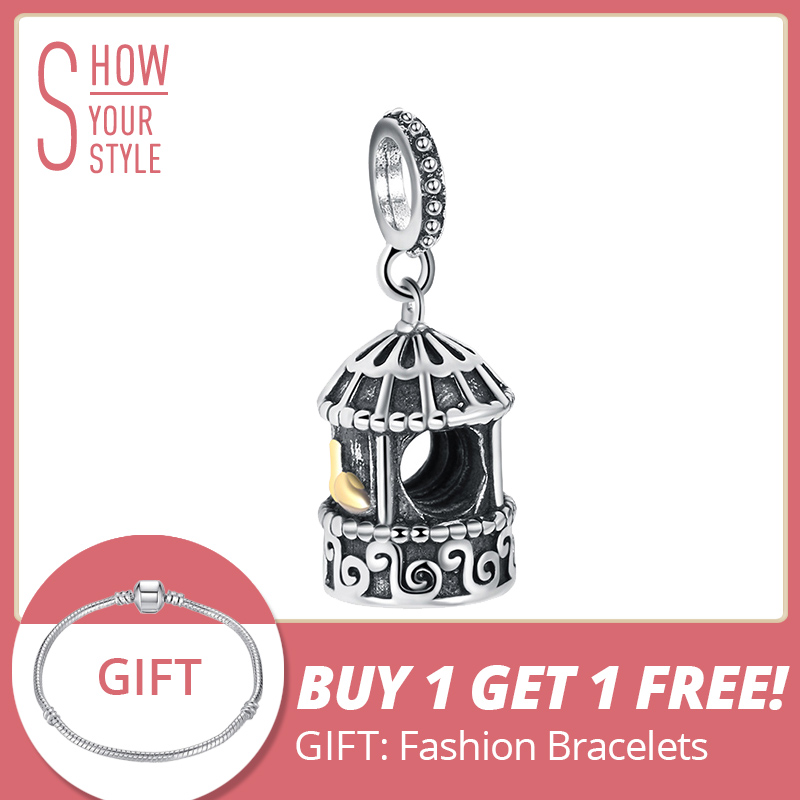 SHEON 925 sterling silver birdcage charms crown heart lock beads fit authentic pandora bracelets diy fine jewelry accessories