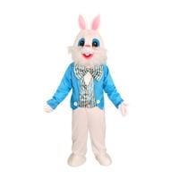 Blue Vest Easter Bunny Deluxe Rabbit Mascot Suit Plush Dress Adult Men Costume