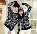 Wholesale-Aztec Full Print Reindeer Snowflake Matching Christmas Sweaters Plus Size Tribal Couples' Pullover Sweater S-XXL