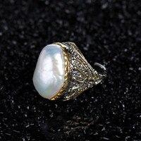 Натуральный жемчуг барокко большое кольцо S925 стерлингового серебра Винтаж тайский Серебряные ювелирные изделия трансграничной поколение