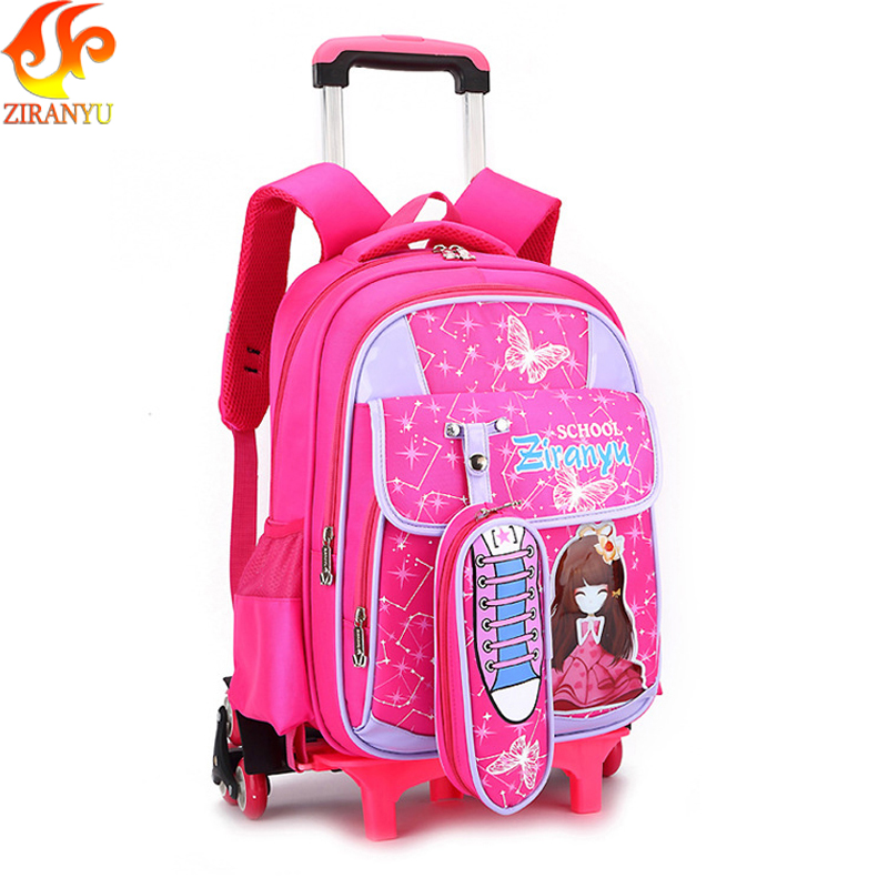 ZIRANYU Removable Children School Bags with 3 Wheels for Girls Trolley Backpack Kids Wheeled Bag Bookbag travel luggage Mochila