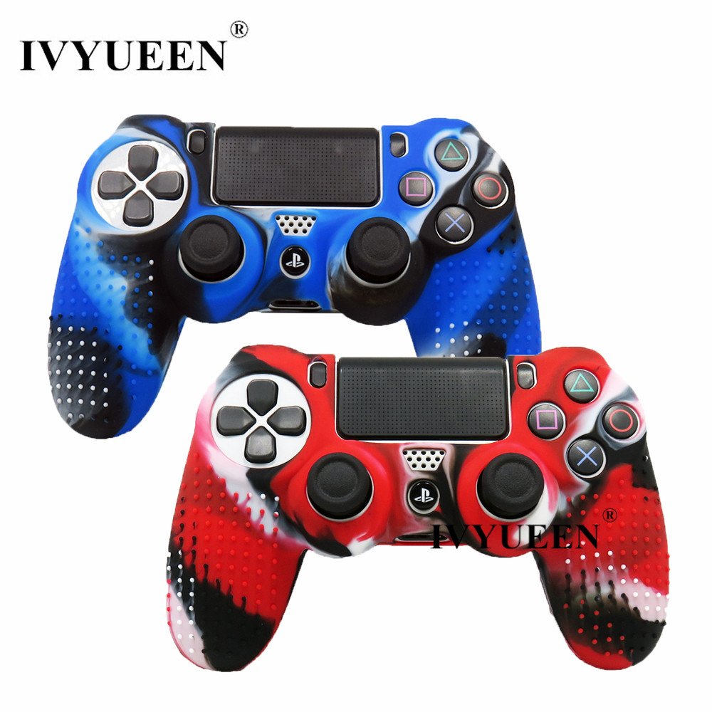 Hearty 9in1 Kit For Ps4 Studded Anti-slip Silicone Rubber Cover Skin Case For Sony Playstation 4 Pro Slim Controller With 8 Grips Caps Replacement Parts & Accessories