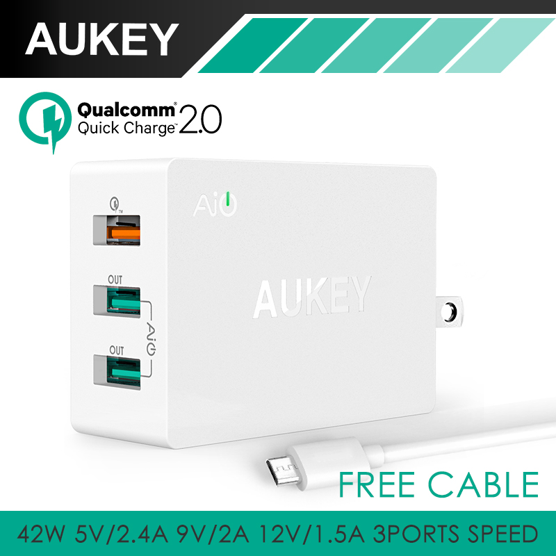 font b Aukey b font 42W 3 Ports Portable Travel USB Wall Charger 2 Port