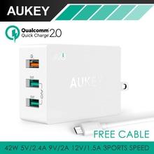 Aukey 42 W 3 Puertos USB Portátil de Viaje Cargador de Pared (2 Puertos 5 V/4.8A + 1 Puerto de Carga Rápida 2.0) 12 V/1.5A 9 V/2A 5 V/2A Con El Cable USB