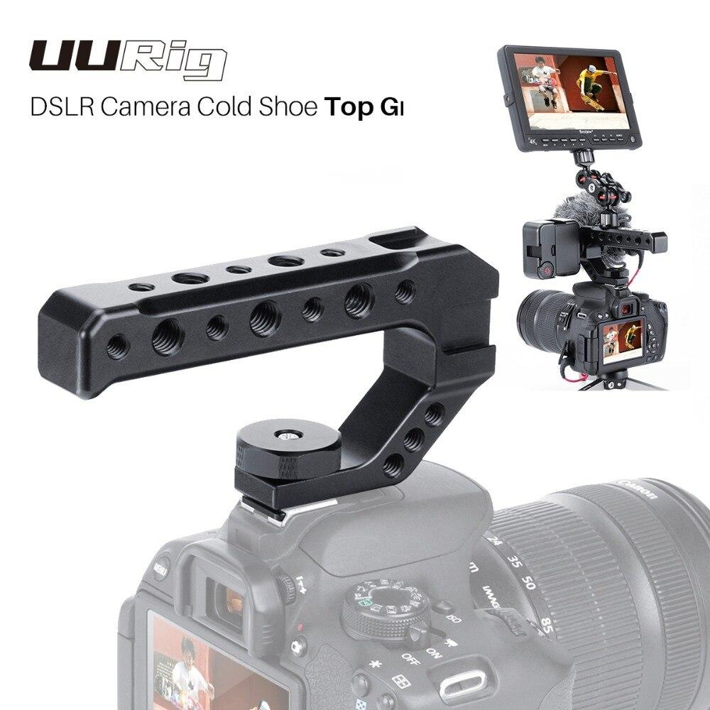 Uurig r005 dslr câmera alça superior frio sapato adaptador de montagem universal handgrip para sony nikon canon pentax 1/4 3/8 parafuso