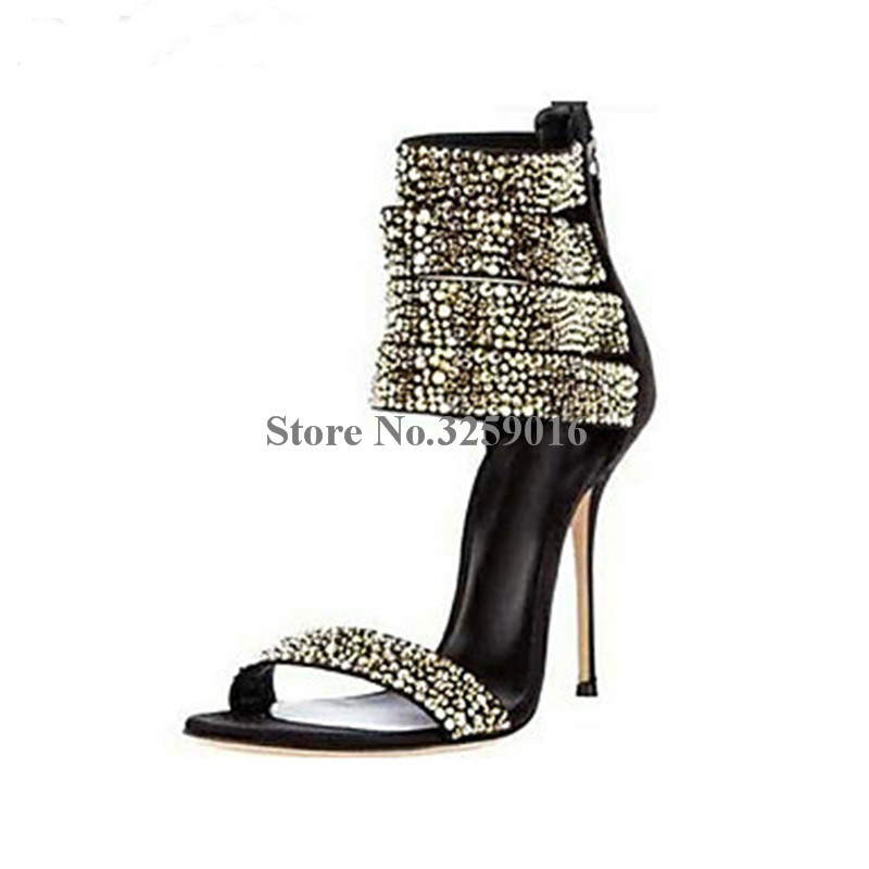 Nouvelle mode femmes Bling Bling argent or strass gladiateur sandales cheville Wrap cristal à talons hauts sandales chaussures habillées formelles