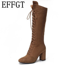 37738cffee1 EFFGT 2019 New Women s Fashion Womens Knee High Boots Flat Snow boot Dance  Lace Up Canvas