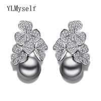 New Year Gift Fashion Flower Drop Earring Statement Jewelry Pendientes Aros With Clear Crystal And Simulated