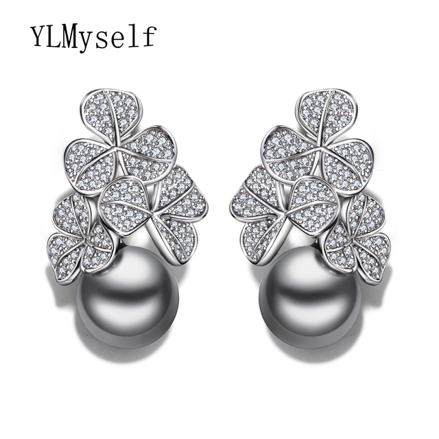 New year gift Fashion flower drop earring statement jewelry pendientes aros with clear crystal and simulated gray pearl earings
