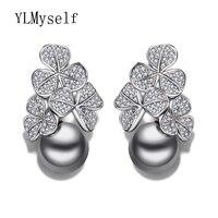 Presente de ano novo Moda flor gota brinco jóias declaração pendientes aros com crystal clear e simulados brincos de pérolas cinzentas