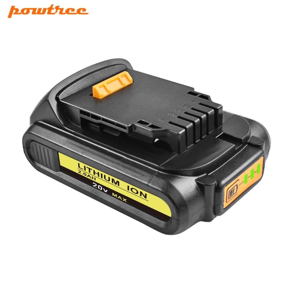 Powtree For DeWalt 20V 2000mAh DCB200 Power Tools Li ion Battery Replacement DCB181 DCB182 DCB204 DCB101