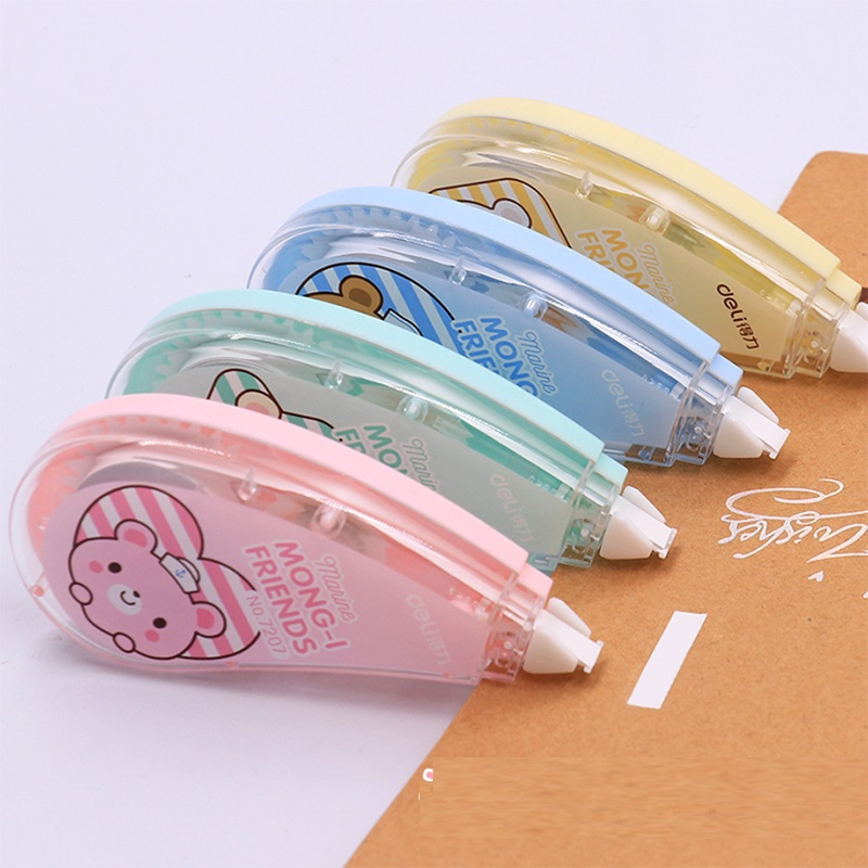 1 Pc 5mmx8meters Correction Tape Corretivo Escolar Fita Cartoon Concealer School Tape 4 Colors Deli 7207