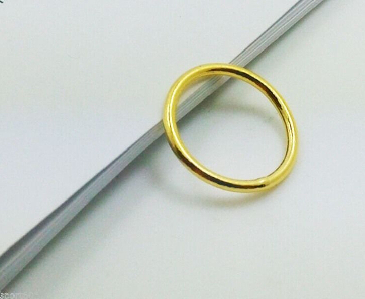 Oi Q Genuine Sólido 999 24 K Ouro Amarelo/Liso Perfeito Design Anel