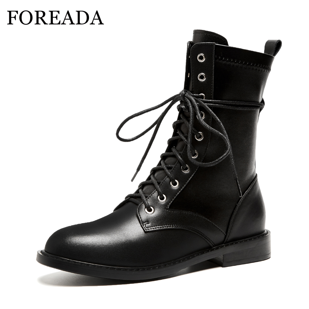 FOREADA Genuine Leather Boots Women Punk Lace Up Motorcycle Boots Winter Round Toe Thick Heel Ankle Boots Ladies Shoes Black цены онлайн