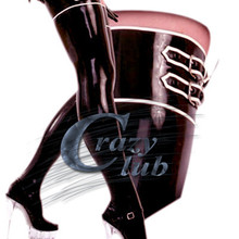 Crazy club_New arrival Low latex thigh length with loop stockings nightclub latex thigh stocking sex body stocking Free Shipping
