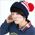 Free Shipping!2014 New 5pcs/lot Star&Striped Style Knitted Beanie Hat Vintage Bobble Winter Cap Pom Pom Ski Hat