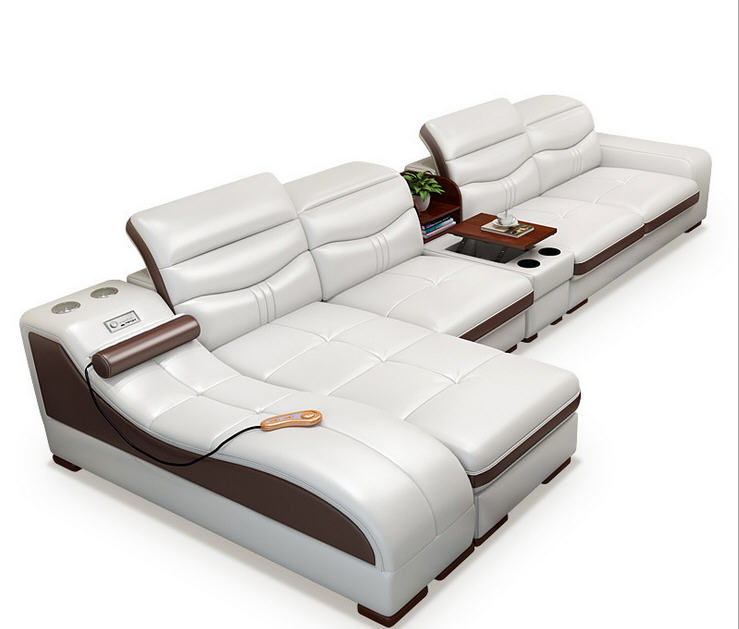 Sofa-Set Recliner-Speaker Massager Canape Bluetooth-Puff Living-Room Genuine-Cow-Leather