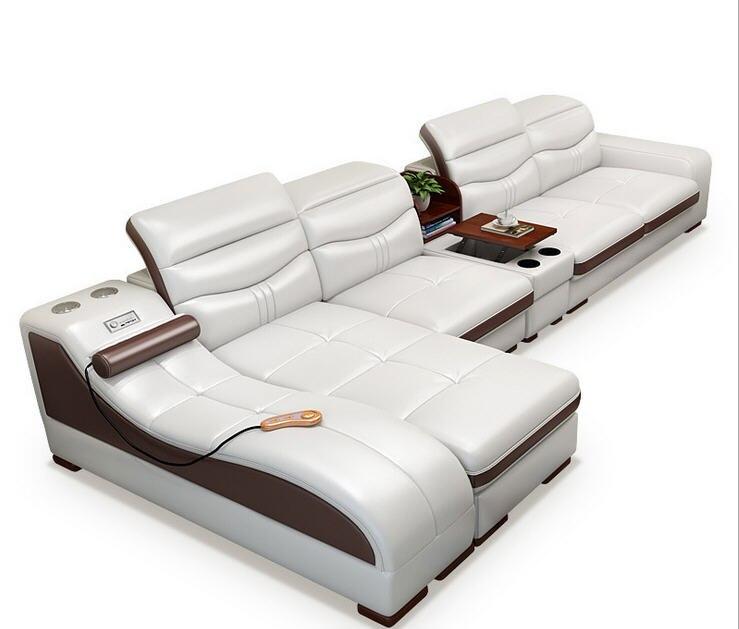 Salon canapé ensemble masseur véritable cuir de vache canapé inclinable haut-parleur bluetooth bouffée asiento muebles de sala canape cama