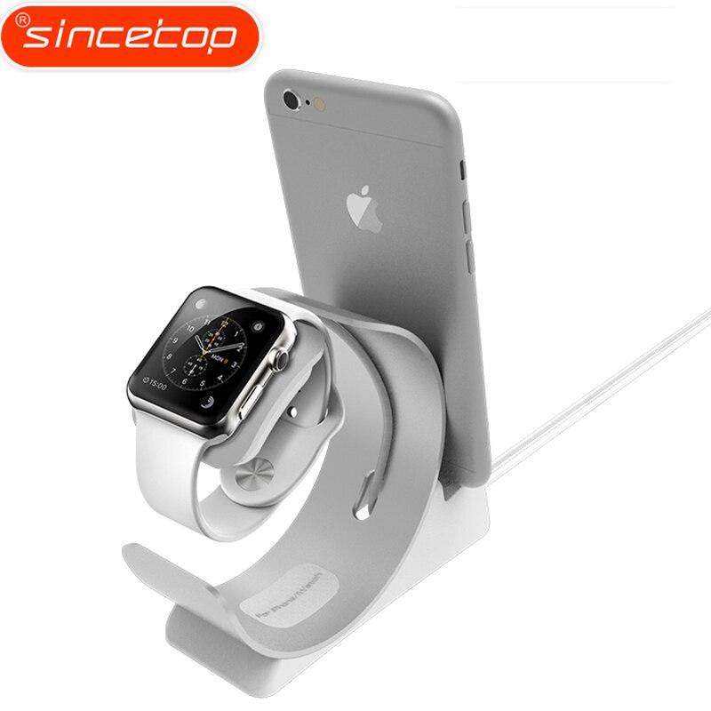 Einfache 2 in 1 Ladegerät Dock station für Apple Uhr Stehen für iPhone7 halter lade Basis Aluminium Desktop-halter für ipad