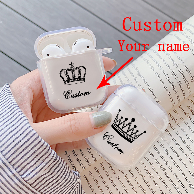 Custom DIY Name Transparent Wireless Earphone Charging Box Cover Bag For Apple AirPods Hard PC Protective Case Cover For AirPods