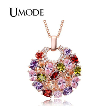 UMODE 2019 Fashion New Round Colorful Zircon Geometric Flower Pendant Necklaces for Women Rose Gold Link Chains Jewelry AUN0366