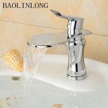 Brass Waterfall Bathroom Basin Faucet Vanity Vessel Sinks Water Crane Mixer Faucets Tap