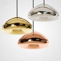 Modern Nordic Lustre Void Copper Brass Bowl Mirror Glass Pendant Light LED Bar Art Gold Pendant