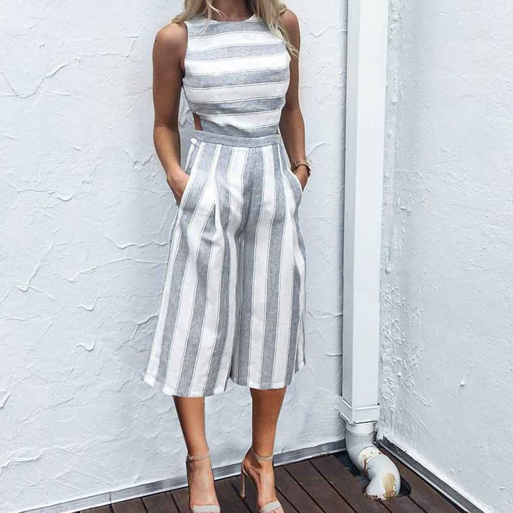 Hot Sale Women Sleeveless Striped Jumpsuit Casual Clubwear Wide Leg Pants Outfit Female Summer Jumpsuits Women Sets Clothing Suits & Sets