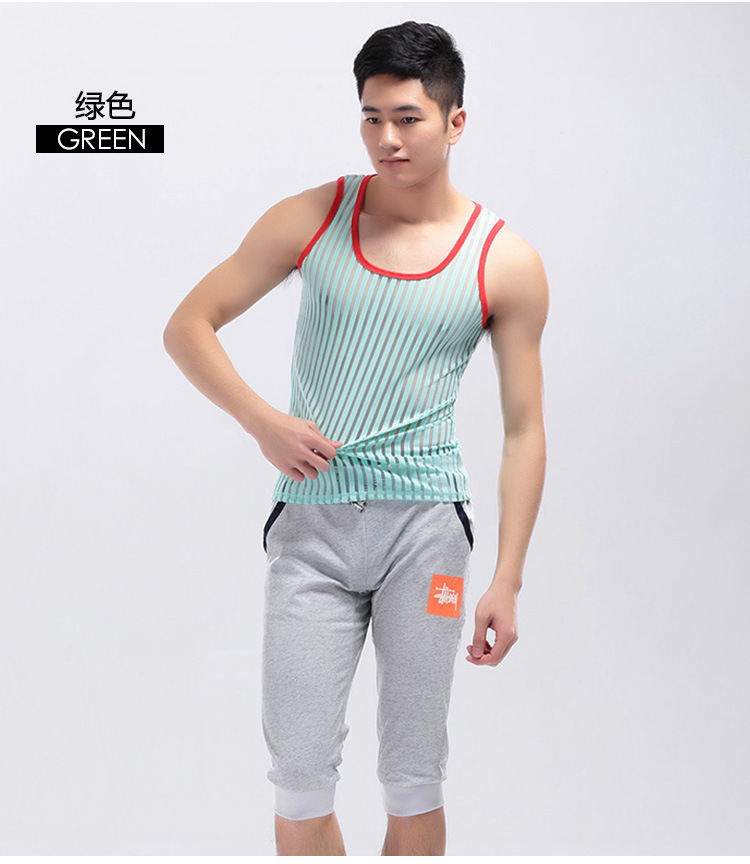 Sexy Underwear Gay Clothing Stripe Mesh Net Shirts Fashion Man Clothes Undershirts Vest Stripe See Through Tank Tops FX1022