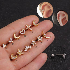 Feelgood Gold Cartilage Helix Piercing Tragus Stud Earring