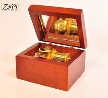 New Home decoration Pear wood golden movement wooden clockwork music box birthday gift Christmas Gift