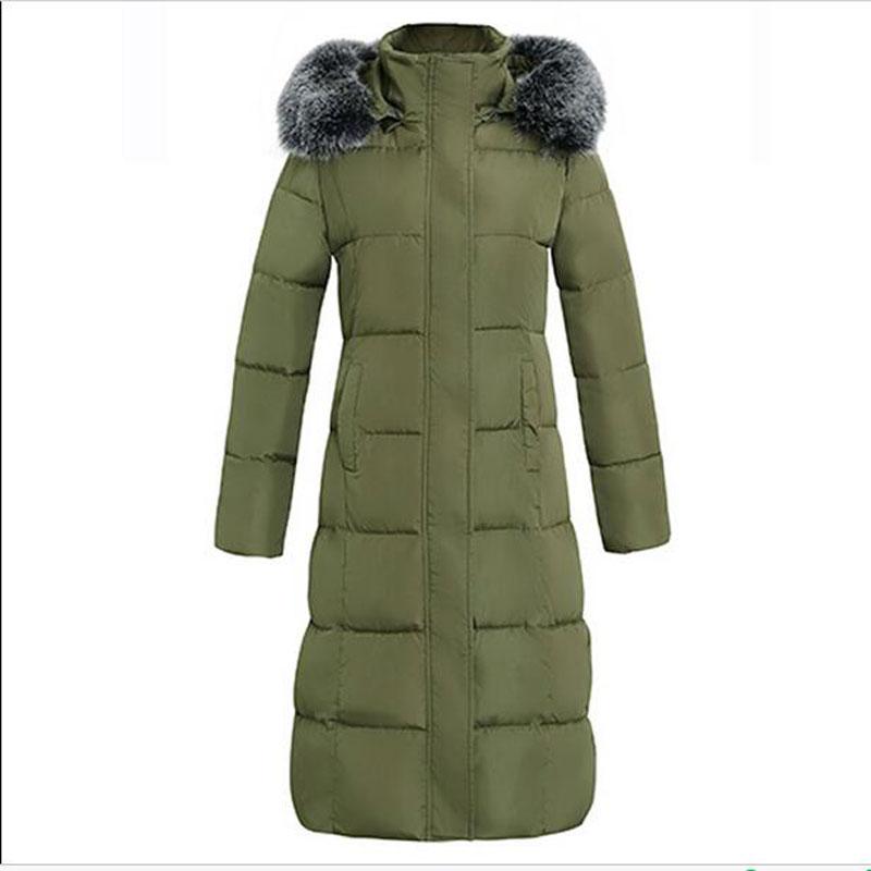 De Col army brown Capuche Parka Nouvelles Femmes Noir D'hiver Longue Taille Épaisse Green 4xl Fourrure Veste Coton gris 2017 Femelle Ac171 Manteaux Plus Manteau BqfXYXw