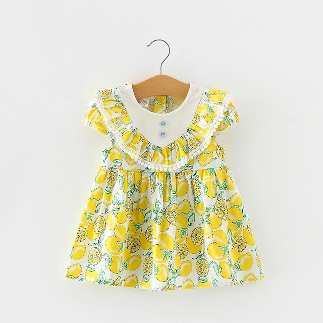 ac14eed83a5a 2018 New Baby Girl Summer Cotton Dress Fruit Lemon Printed Girls ...