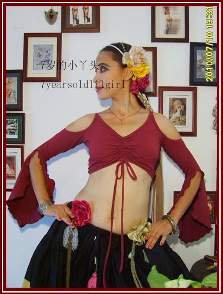 Lycra Cotton Tribal Gothic Belly Dance Choli Tie Top AO02-23