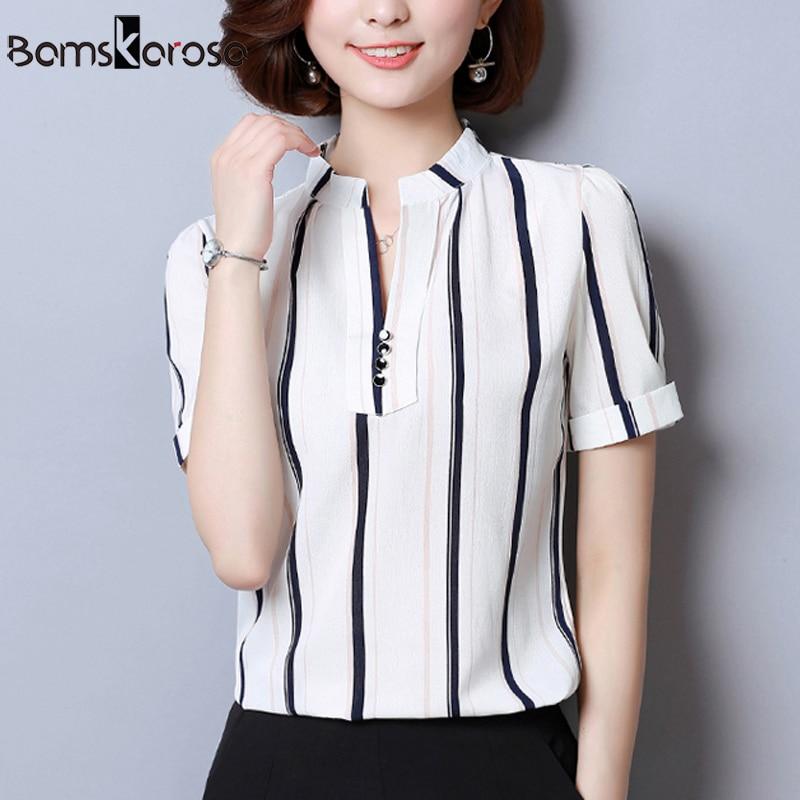 74e9c48fabd Summer Chiffon Women Blouse And Shirt Plus Size Short Sleeve Female Blouses  2018 Korean Fashion Stripe Flower Ladies Top Blusas-in Blouses   Shirts  from ...